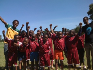 Reaching for the stars! Arusha's Lengo Football Academy was founded six months ago by the 28-year-old Emanuel Saakai (back left).