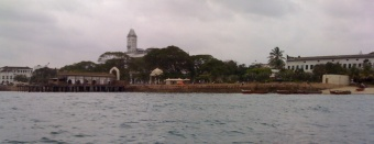 A picturesque view of Zanzibar Town from the Indian Ocean, on the way back from Prison Island.