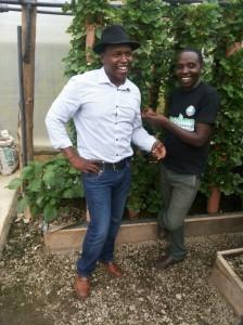 Daniel Kimani with Mkulima Young founder Joseph Macharia