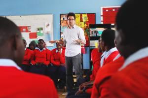 Speaking to students at Orkeeswa school in Monduli, Tanzania