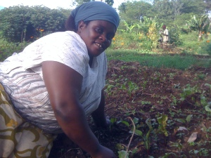 Oliva Lawrence-Mchomba is a former house Mama at Kesho Leo, now she's employed as a farmer