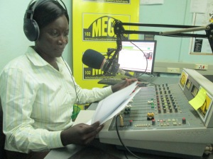 Sarah Adongo on air at Mega FM