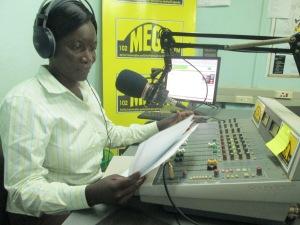Sarah Adongo on air at Mega FM