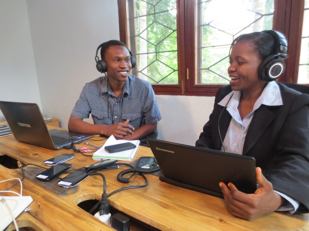 FRI's Kassim Sheghembe and journalist Rotlinde Achimpota at work in The Hangar on a Beep4Weather recording.