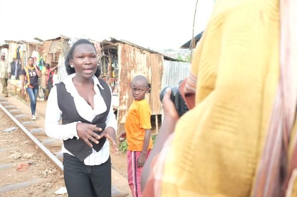 My trainees film a report on  Kenya's NYS clean-up of Kibera slum in Nairobi