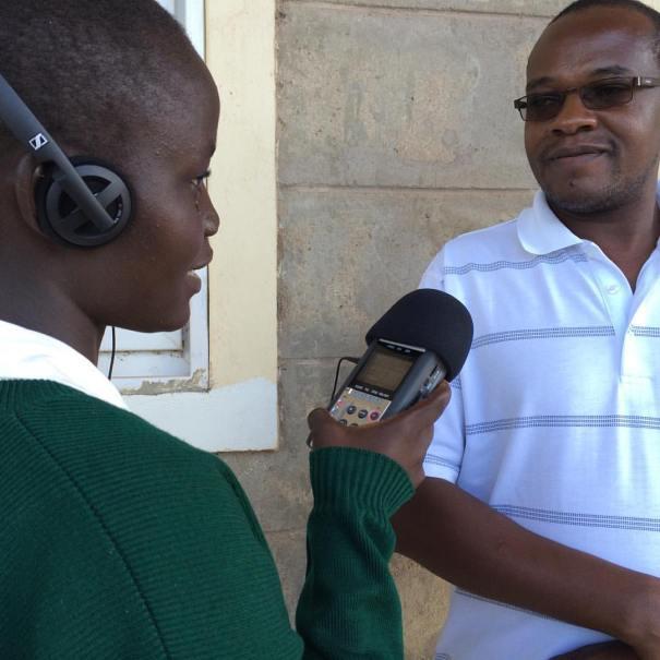 Mary Jukudu interviews Loreto deputy principal, Nelson Kiarie.