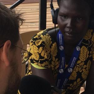 Mingkaman 100 FM Bor reporter Rhoda Ateng interviews Oxfam on its Jonglei state food security report.