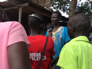 Loreto girls interviewing women at Rumbek market