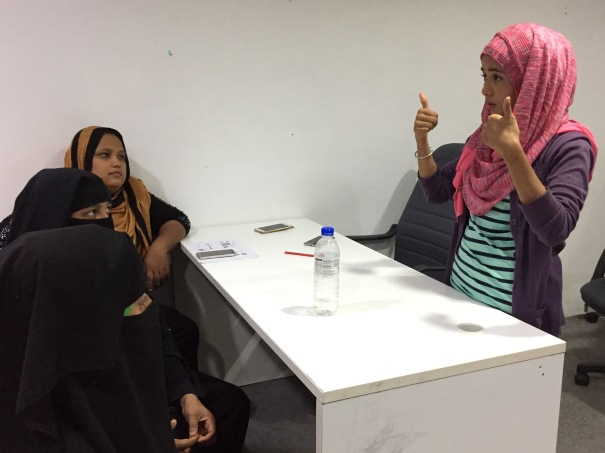 Thumbs up by Sharifah Husain after class at Rohingya Women's Development Network