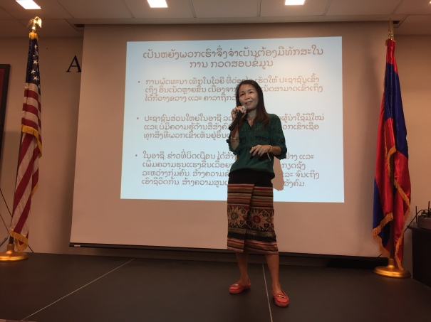 Keoxomphou Sakdavong begins her How to Spot Fake News talk at American Centre in Vientiane.jpg